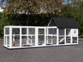Hühnerhaus Kathedral Large mit Anbau-Ausläufe und Fundamente 416x150x157cm
