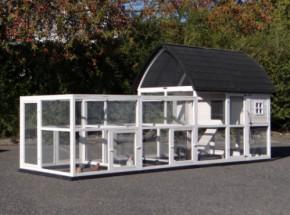 Hühnerstall Kathedral XL mit Anbau-Ausläufe und Fundamente 397x174x181cm