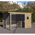 Zwinger Forz mit isolierter Hundehütte, Holzrahmen und Fenster