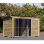 Auslauf Forz für Hunde mit isolierter Hundehütte, Plattform und Holzrahmen