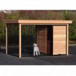 Hundezwinger FIX schwarz mit Dach und Douglasienholz Rahmen 352x240 cm