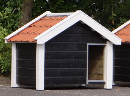 Hundehütte Reno schwarz/weiss, Abmessungen 160x106x123 cm