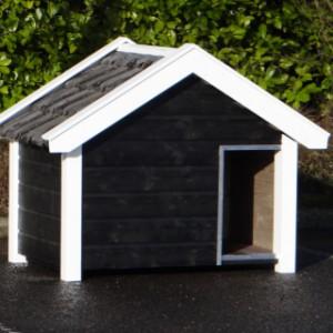 Hundehütte Reno schwarz/weiss mit Dachziegeln