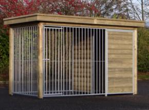Hundezwinger FIX mit Holzrahmen und Luxus Dach