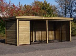 Hundezwinger FORZ schwarz mit Holzrahmen, isolierter Hundehütte und Luxus-Dach