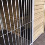 Grosser Hundezwinger mit isolierte Hundehütte und Plattform