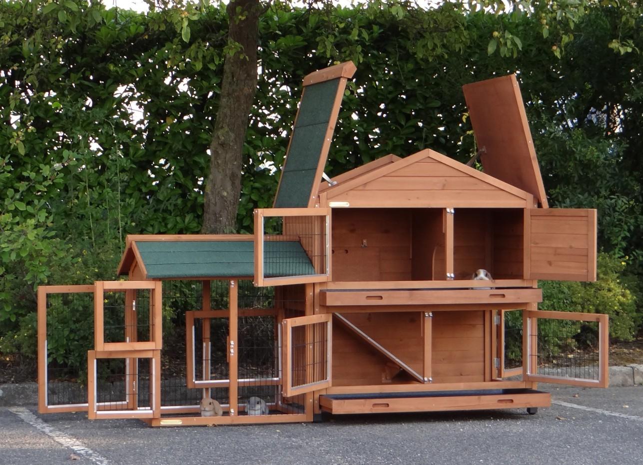 kaninchenstall excellent medium mit anbau auslauf links. Black Bedroom Furniture Sets. Home Design Ideas