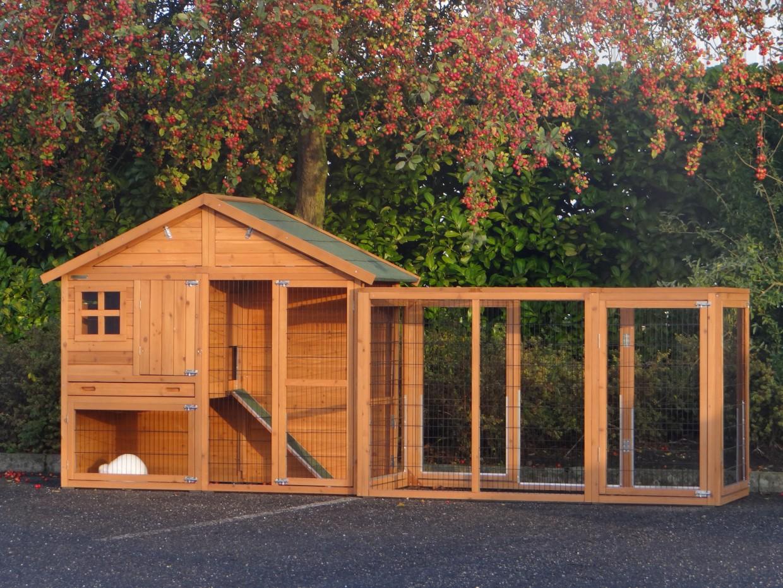 kaninchenstall holiday medium mit auslauf 362x80x151cm. Black Bedroom Furniture Sets. Home Design Ideas