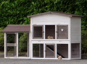 Kaninchenstall Rosanne mit Anbau- Auslauf links