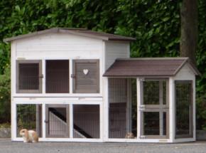 Kaninchenstall Rosanne mit anbau-auslauf rechts