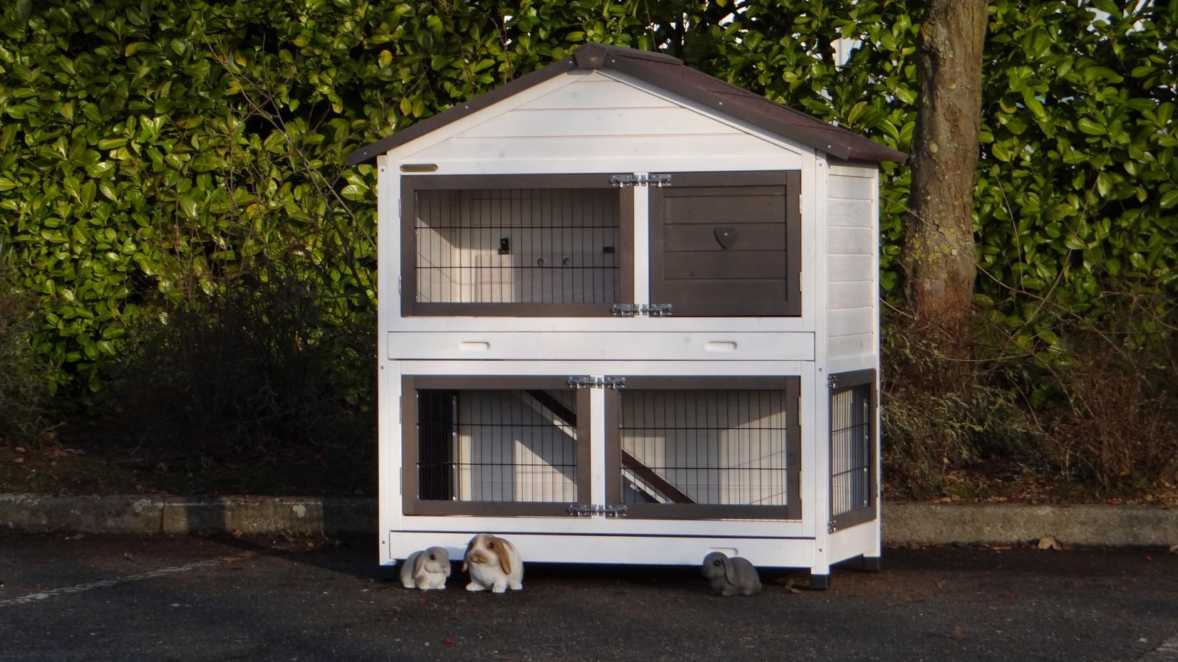 großer kaninchenstall weiß, 2 etagen