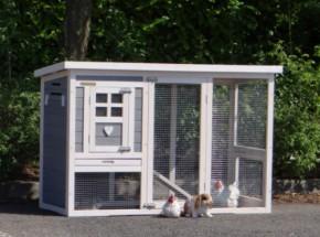 Kaninchenstall Budget white-gray mit kunststof dach 136x64x87cm