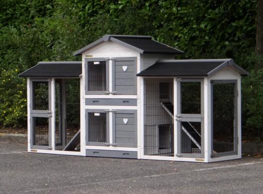 Kaninchenstall Double Small White-grey mit 2 Auslaufflächen und Nageschutz 239x72x121cm