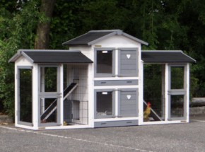 Hühnerstall Double Small White-grey mit 2 Auslaufmodulen 239x72x121cm