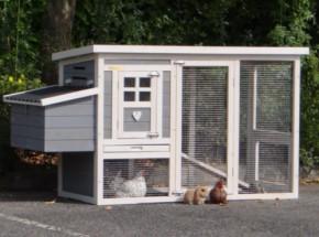 Kaninchenstall Budget White-Grey mit kunststof dach und legenest