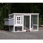 Hühnerstall Julia white-grey mit kunststof dach und legenest 200x75x104cm