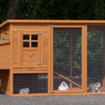 Holz kaninchenstall mit auslauf