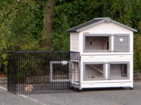Kaninchenstall Excellent Small mit Nageschutz white-grey - mit freilaufgehege Joey 195cm inkl. gehege