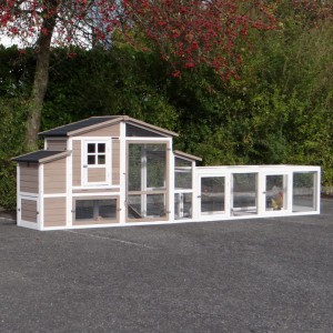 Hühnerstall Leah mit legenest und 2 Auslauf-Modulen 397x75x120cm