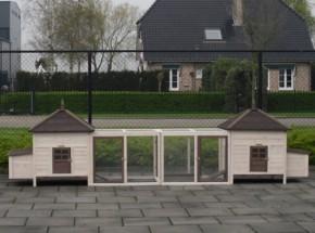 Hühnerstall Ambiance Large Doppel mit 2 Auslaufmodulen 436x93x122cm