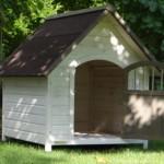 Hundenhütte mit Spitzdach und Tür