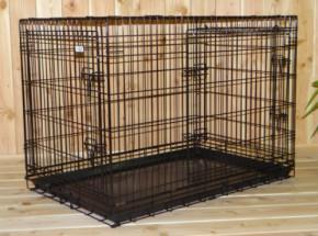 Stabiler Hundekäfig mit 3 Türen und gratis rutschfesten Füßen 109x71x78cm