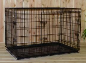 Stabiler Hundekäfig mit 3 Türen und gratis rutschfesten Füßen 124x76x83cm