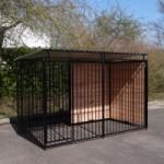 Hundezwinger FERM Schwarz mit Dach 1,5x3m
