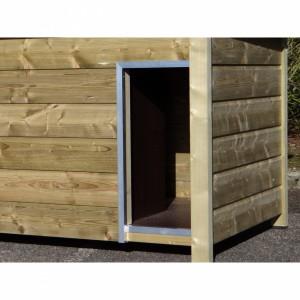 Ausstattung der Hütte entlang der Öffnung mit Aluminiumrändern